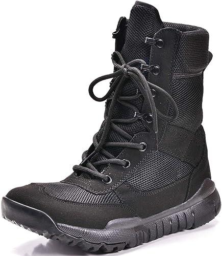 Liabb Hommes Bottes de Combat Militaires de l'armée l'armée de Patrouille armée Cuir Botte Jungle Chaussures Tactiques à Lacets Chaussures Pratiques,noir,41  achats en ligne de sport