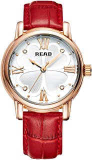 Songlin@yuan Reading Roman Numeral Scale Four-Leaf Clover dial Design Quartz Female Watch with Leather Strap Fashion (Color : Red)