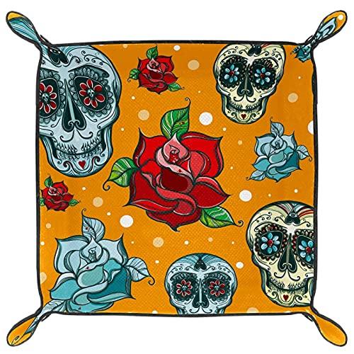 Bandeja de cuero para guardar joyas, bandeja de dados, bandeja de noche, para cambio de moneda, reloj y soporte para caramelos, bandeja de entrada, diseño de calavera bohemio, flor de rosa