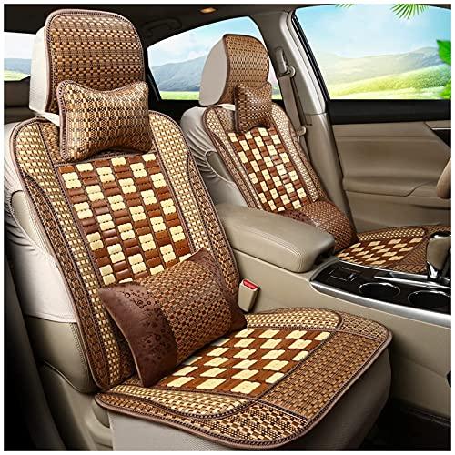 Auto Bambus Sitzbezug Komfort Atmungsaktives Auto Sitzkissen für Toyota RAV4 Universal Vorne Hinten Auto 5-Sitzschutz Innenausstattung Komplettes Set Naturholz Sommer Mesh Pad,Braun,C