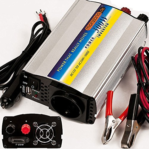 Monzana Wechselrichter Spannungswandler 300/600 Watt integr. USB-Anschluss 12V-230V 2 Anschlussklemmen für Autobatterie + Zigarettenanzünder
