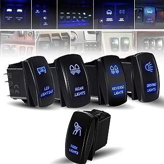 Rocker Switch 5PCS Laser Led Light Bar& Rock& Rear & Reserve&Driving&LED Lights Toggle Switch blue Fit ATV UTV Polaris RZR Can-am HONDA YAMAHA Can-AM Maverick JEEP SUV