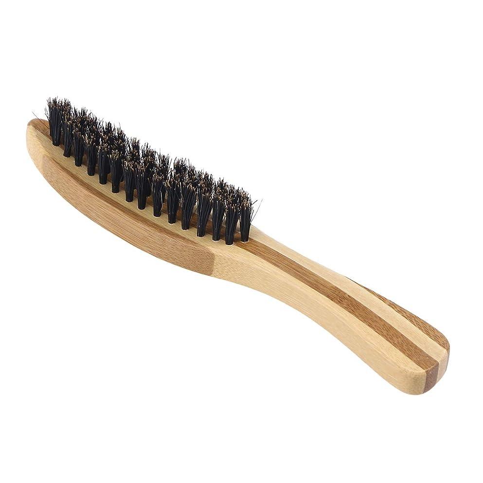 練習かる浴Lurrose 世帯の理髪店のための剛毛のブラシの木製のハンドルの口ひげの毛バスブラシ