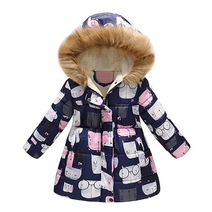 0-2 Years,SO-buts Toddler Baby Girls Winter Warm Fashion Dot Print Bowknot Snow Coat Hooded Windproof Outwear Jacket