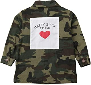 2-8T Kid Baby Girls Long Sleeve Camouflage Letters Denim Windbreaker Jackets Autumn Casual Outwear