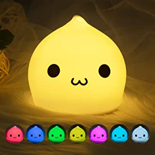 Litake LED Night Light, Battery Powered Night Lights for Kids, Children Soft Silicone Night Light with Warm White, Single ...