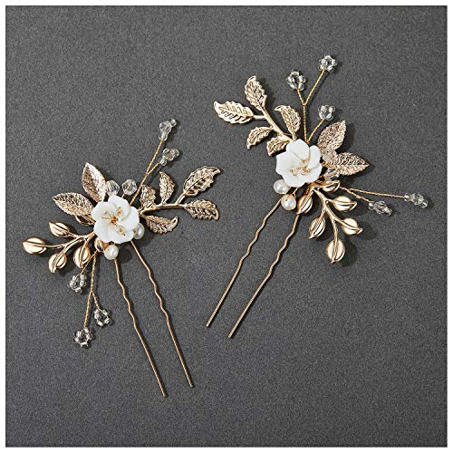 SWEETV 2Pcs Bridal Hair Accessories,Glod Wedding Hair Pins Pieces With White Flowers for Brides