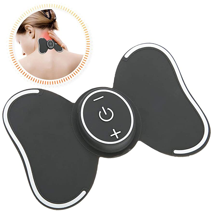 ノイズシダ応援するSemmeミニ電動マッサージパッド、再利用可能なポータブル多機能デジタルジェルパッドマッサージャー用ネックショルダーハンドバックレッグ腹部痛みリリーフ