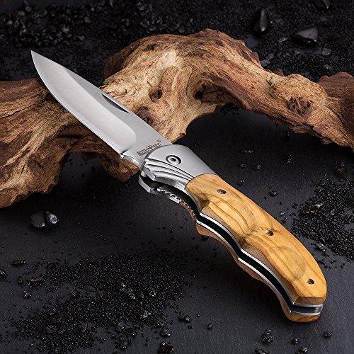 Gentleman's Folding Knife - Pocket Knife Knives Knofe Wood Handle Sharp Blade - Pocket Knife for Men - Best Folder for Camping Hunting - Survival EDC and Outdoor Gear - Cool Mens Gift 6651
