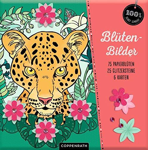 Blütenbilder: 6 Motive, 75 Papierblüten & 25 Glitzersteinchen (100% selbst gemacht)