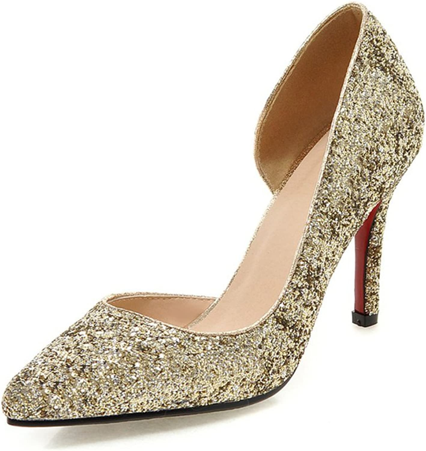 RHFDVGDS Fashion sequin wedding shoes Bridal shoes prong high heels the stiletto Club shoes