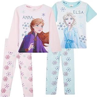 Disney Frozen - Pigiama da bambina, motivo: Anna ed Elsa, confezione da 2 pigiami, taglie da 18 mesi a 12 anni