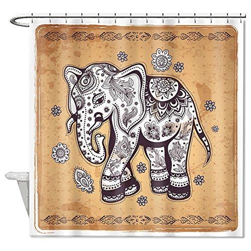 rioengnakg Vintage Elephant Illustration mit ethnischen Ornament Wasserdicht Polyester Duschvorhang Liner, Polyester, #1, 72