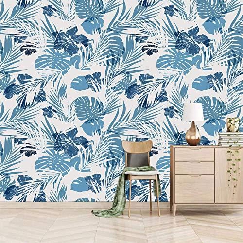 ZEISIX fototapete 3d wandbilder schlafzimmer wallpaper/Blau Cartoon Blätter Pflanzen/fürs wohnzimmer kinderzimmer schlafzimmer küche büro junge flur babyzimmer abstrakt deko mädchen jugendzimmer e