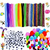 600 Pcs Craft Supplies Set - Pipe Cleaners Set Which Includes 200Pcs Chenille Stems, 150Pcs Self-Sticking...