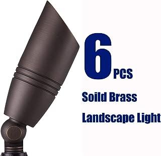 Elevens 6 Sets Solid Landscape Brass Spot Light,12v Low Voltage Outdoor Aged Bullet Spotlights Kit with Ground Spike (Antique Bronze)
