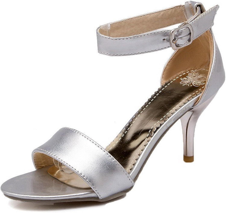 AllhqFashion Women's Open-Toe Kitten-Heels PU Solid Buckle Sandals, FBULC013009