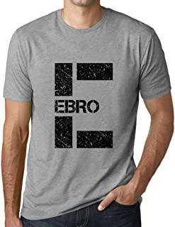 Ultrabasic Men's Graphic T-Shirt Letter E Countries and Cities EBRO Grey Marl