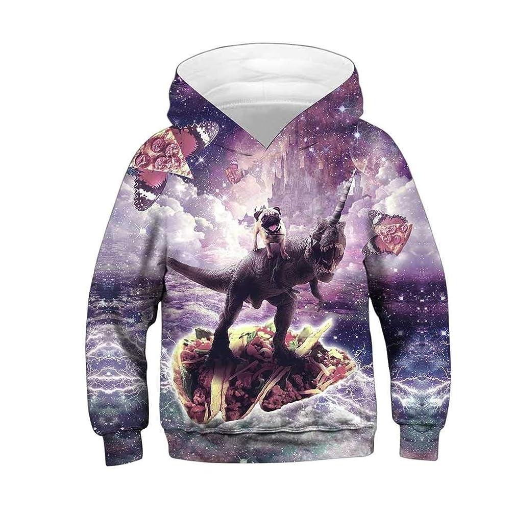多年生支店イーウェル子供フード付き3Dプリントスウェットシャツ ポケットロングスリーブフーディープルオーバー 男の子と女の子のための秋冬 #5