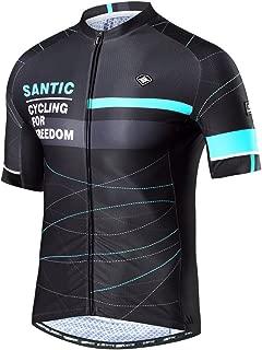 Santic Men's Cycling Jersey Shorts Sleeve Cycling Shirts Full Zip with Pockets