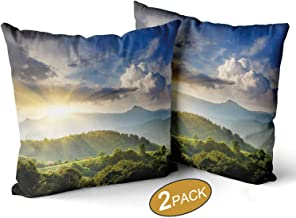 Nine City Nature Throw Pillow Cushion Cover,Rising Sun Clouds Over Forest Hill Woodland Idyllic Countryside View Decorative Sofa Bed Throw Cushion Cover Decoration,16