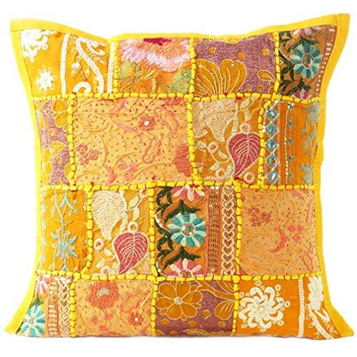 Eyes of India - de Colores Patchwork Almohada Decorativa Sofá Funda de Cojín Sofá Manta Indio Bohemia de Colores Bohemio Cubierta - Amarillo, 20 X 20 in. (50 X 50 cm)