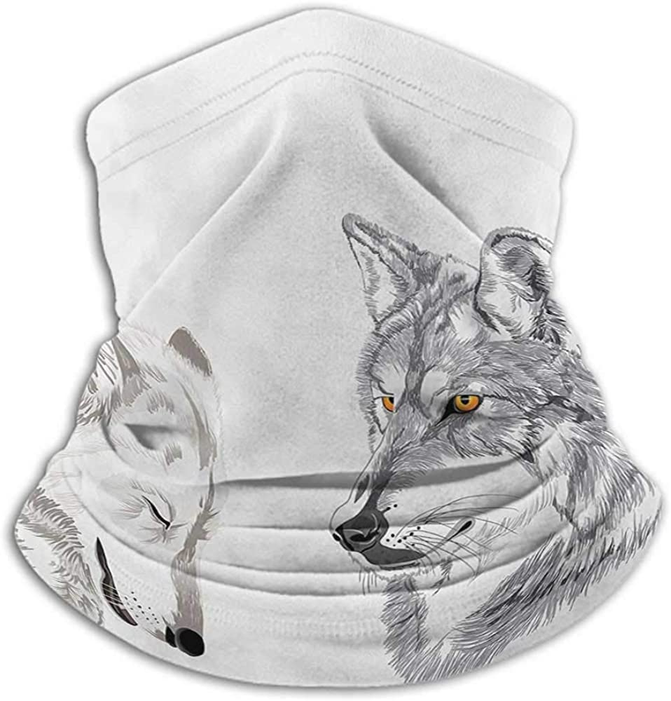 Neck Gaiter Sketchy Cold Weather Face Cover Two Wolf Portraits Sleeping Hunting Carnivore Animals Nature Wildlife Theme Beige Grey Orange