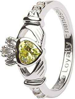 August Birth Month Sterling Silver Claddagh Ring LS-SL90-8. Made in Ireland.