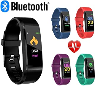 CNPGD Smartwatch Bracelet Fitness Tracker Sports Waterproof Color Touchscreen Heart Rate & Blood Pressure Monitor Pedometer Compatible for IOS IPHONE Android (Samsung LG) for Kids, Men and Women Black
