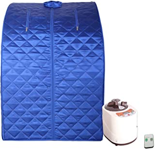 Smartmak Portable Steam Sauna, at Home Full Body One Person Spa Tent, 2L Steamer with Remote Control, eco-Friendly Indoor Weight Loss Detox Therapy, Herbal Box Included(US Plug)- Blue