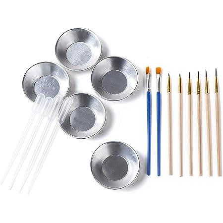 KiloNext プラモデル 塗装 セット 塗装筆 面相筆 平筆 4種8本 塗料皿 5個 スポイト 4個 付き