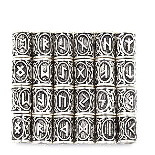 24 Stück Antike Perlen Wikinger nordische Runen Haar Bartperlen Silber Armband Schmuck skandinavische Anhänger Paracord für Handwerk DIY Handwerk