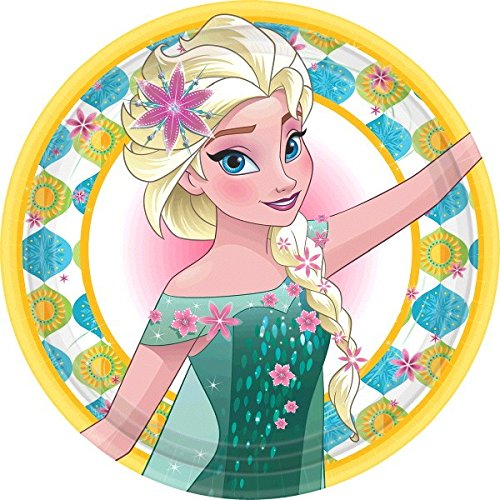 Disney Frozen Fever Birthday Party Lunch Plates Disposable Tableware and Dishware (8 Pack), Multi Color, 9.