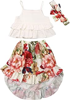Mericiny Toddler Kids Baby Girl Off-Shoulder Tops +Flowers Long Skirts 2pcs Outfits Summer Clothes