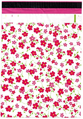10x13 (100) Pink Flowers Designer Poly Mailers Shipping Envelopes Boutique Custom Bags by ValueMailers (10
