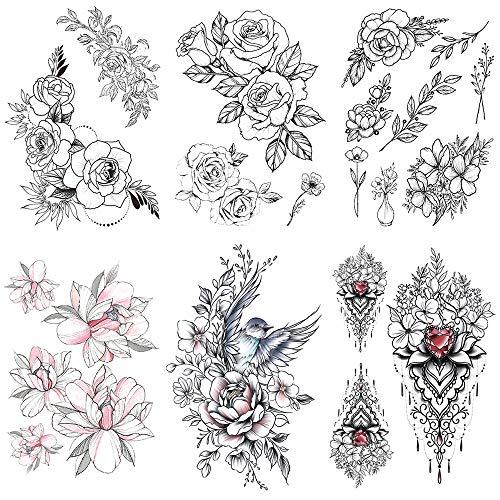 Huture 6 Blätter Wasserdicht Temporäre Aufkleber Tattoos für Frauen Schwarz Rose Blume Körper Tattoos Aufkleber Gefälscht Körperkunst Aufkleber Transfer Tattoos für Arme Schultern Rücken Beine