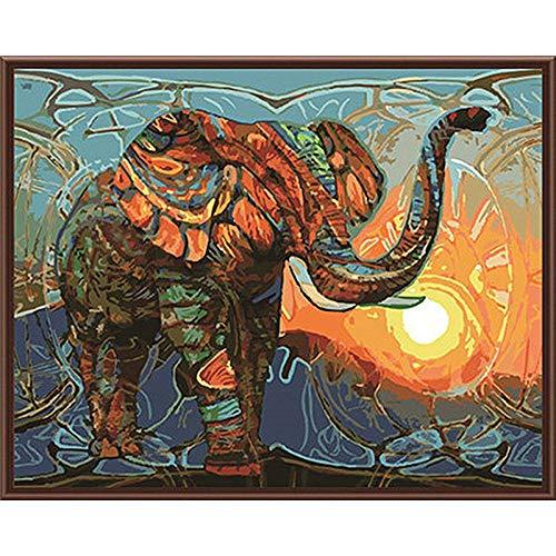 Preisvergleich Produktbild WSKPE DIY großes Wohnzimmer Schlafzimmer Farbe Elefant Färbung handgemalte Digitale Ölgemälde dekorative Malerei,  40 * 50cm