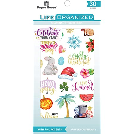 Paper House Productions STBK-0004E STBK-0001 Seasonal 30 Sheet Planner Sticker Book, Assorted colors