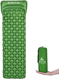 Hikenture Ultralight Sleeping Mat | Backpacking Sleeping Pad-Compact Inflatable Camping Air Mattress Pad for Camping,Sleeping,Backpacking,Travel,Hiking,Hike Camp Air Pad (Army Green,Blue)…