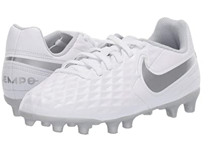 Nike Kids Jr Legend 8 Club FG/MG Soccer (Toddler/Little Kid/Big Kid) (White/Chrome/Pure Platinum/Wolf Grey) Kids Shoes