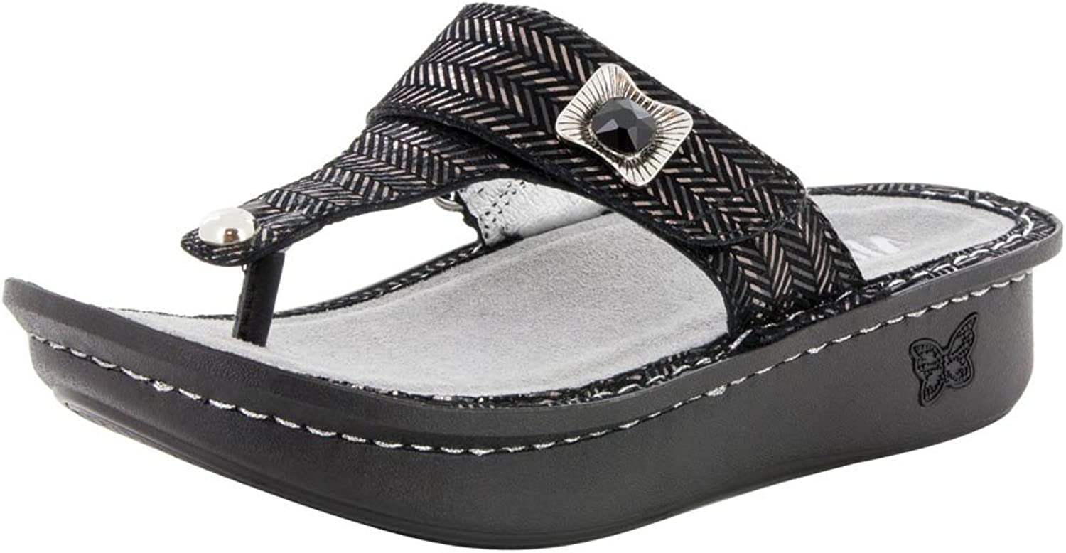 Alegria Women's, Carina Thong Sandal Chained Black 4 M