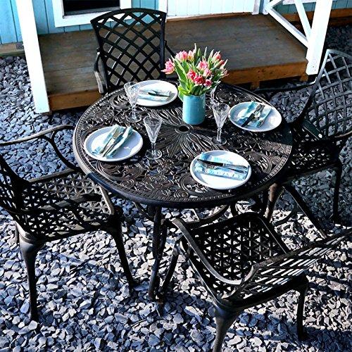 Lazy Susan - Flora 103 cm Runder Gartentisch mit 4 Stühlen - Gartenmöbel Set aus Metall, Antik Bronze (Rose Stühle)