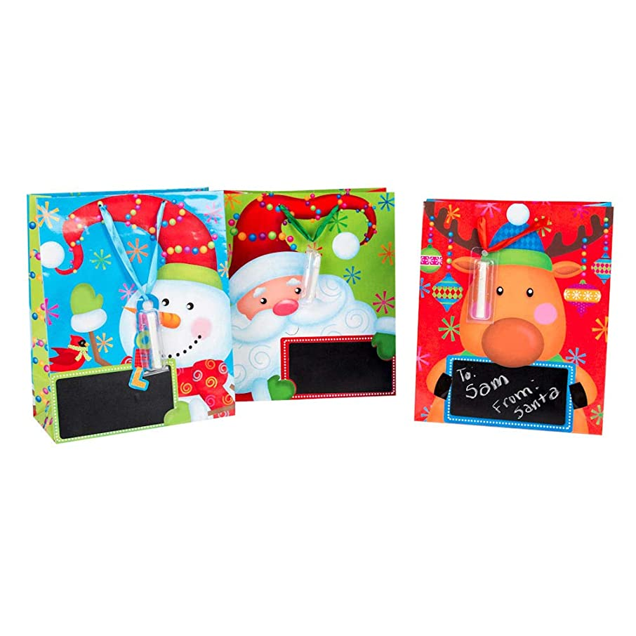 Christmas Gift Bag Set -3 Large Bags with Chalkboard (to/from), Chalk, and Tissue Paper (20 Sheets)