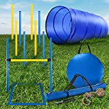 CHEERING PET Dog Agility Training Equipment, 28 Piece Dog Obstacle Course, Training and Interactive Play Includes Dog Tunnel, Adjustable Hurdles, Poles, Whistle, Rope Toy with Carrying Case