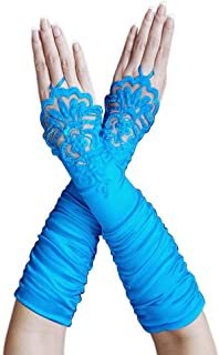 ZaZa Bridal Gathered Satin Fingerless Gloves w/Floral Embroidery Lace & Sequins