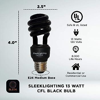 SleekLighting 13 Watt Spiral CFL Black florescent Light bulb For Disco Party,blacklight lightbulb, glow in the dark, ...