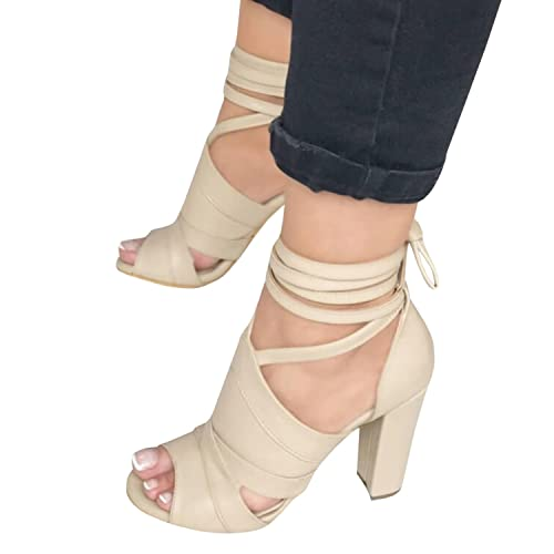 7721e0ffd49c Runcati Womens Ankle Wrap Chunky Block Heels Peep Toe Pumps Lace up Strappy  Suede High Heeled