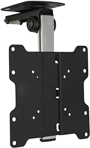 Mount-It! Flip Down TV and Monitor Mount | Ceiling Kitchen Overhead and Under Cabinet Mount | Fits Flat Screens 13 15...