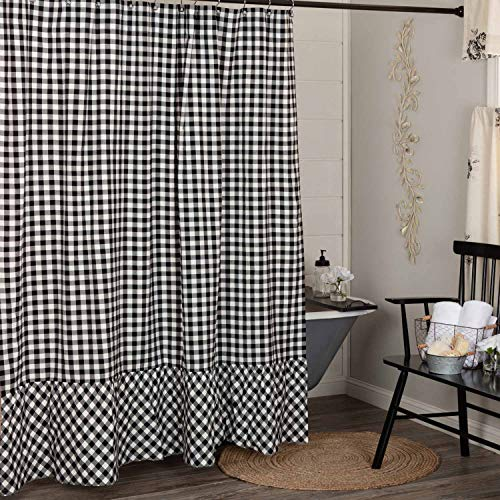 """Vintage Check Black Shower Curtain, 72"""" x 72"""", Modern Farmhouse Gingham Country Cottage Bathroom Accent"""