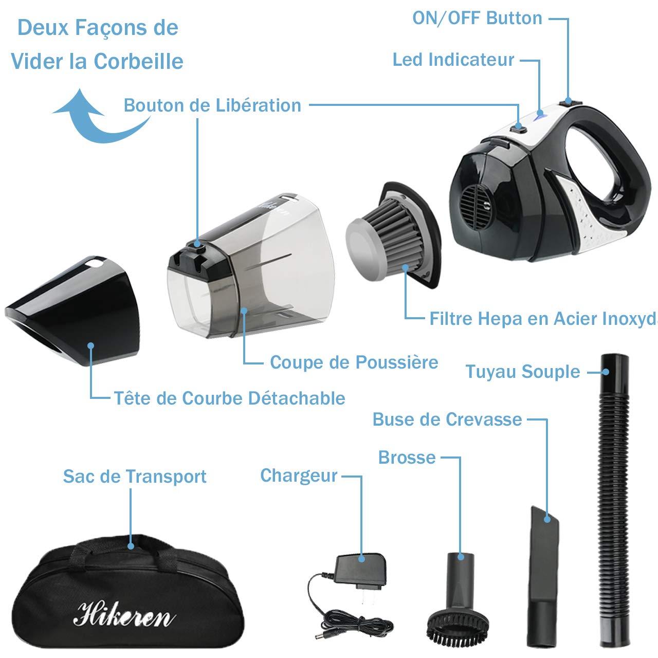 Hikeren - Aspirador de mano inalámbrico, portátil, recargable, 100 W, aspirador doméstico, ligero y potente con 3 boquillas, para casa, coche, mesa, en húmedo y seco: Amazon.es: Hogar